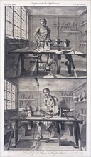 Turning wood, 1754. Artist: I Hinton