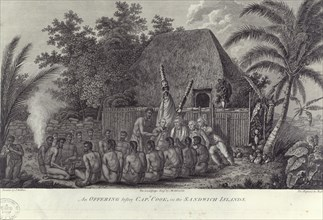 Natives of the Sandwich Islands, Hawaii, slaughtering swine before Captain Cook, c1778. Artist: Unknown