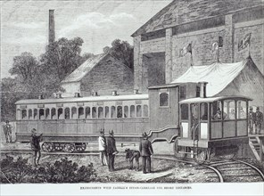 'Experiments with Fairlie's steam carriage for short distances', August 1869. Artist: Unknown