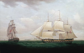 'Two East Indiamen off a Coast', Thomas Whitcombe, c1850. Artist: Thomas Whitcombe