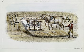 Bell's reaping machine, 1851. Artist: GH Swanston