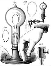 Edison's carbon filament lamp, 1880. Artist: Unknown