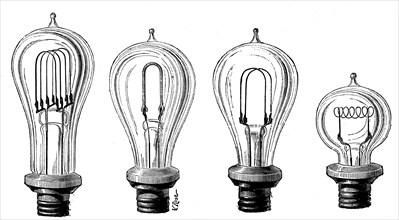 Edison's incandescent lamps showing various forms of carbon filament, 1883. Artist: Unknown