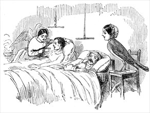 Florence Nightingale watching a nurse at work, 1854. Artist: Unknown