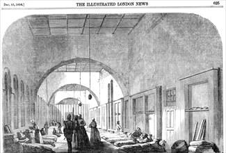 The barrack hospital at Scutari during the Crimean War, 1854. Artist: Unknown