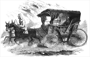 Florence Nightingale in her carriage in the Crimea, 1856. Artist: Unknown