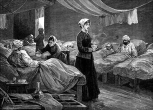 Florence Nightingale in the barrack hospital at Scutari, c1880. Artist: Unknown