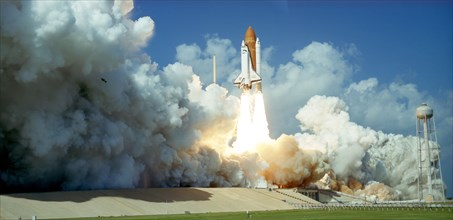 Launch of Space Shuttle Challenger from Kennedy Space Center, Florida, USA, 1985. Artist: Unknown