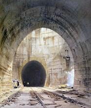 Ventilation shaft in Kilsby Tunnel, Northamptonshire, London & Birmingham Railway, 1839. Artist: John Cooke Bourne