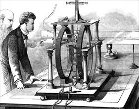 Thomas Edison's improved form of JW Trowbridge's electric dynamometer, 1879. Artist: Unknown