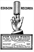 Advertisement for Edison phonograph cylinder recordings, 1900. Artist: Unknown