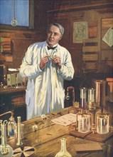Thomas Edison, American inventor, in his laboratory, Menlo Park, New Jersey, USA, 1870s (1920s). Artist: Unknown