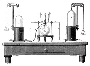 Antoine Lavoisier's apparatus for synthesizing water from hydrogen (left) and oxygen (right), 1881. Artist: Unknown