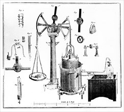 Antoine Lavoisier's apparatus for weighing gases, 1789. Artist: Unknown