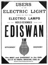 Advertisement for Ediswan incandescent light bulbs, 1898. Artist: Unknown