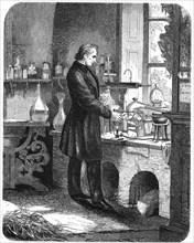 Justus von Liebig, German chemist, at work in his laboratory, mid 19th century (c1885). Artist: Unknown