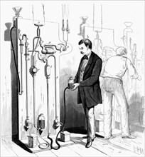 Making Edison light bulbs, 1880. Artist: Unknown