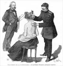 Professor Bergmann injecting a tuberculosis patient, 1891. Artist: Unknown