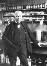 Thomas Alva Edison at Menlo Park, late 1880s. Artist: Anon