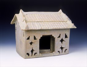 Brick red pottery model of a house, late Eastern Han dynasty, China, early 3rd century. Artist: Unknown