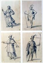 Costume designs for allegorical characters, 16th century. Artist: Giuseppe Arcimboldi