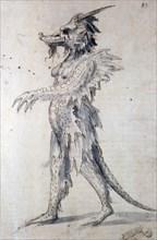 Costume design for a costume for a dragon, 16th century. Artist: Giuseppe Arcimboldi