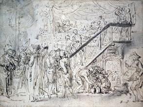 'Le Grand Café' 1759. Artist: Gabriel de Saint-Aubin