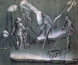 Scene from a story of chivalry, c1400. Artist: Anon