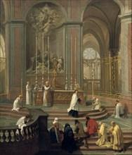 'Mass said by the canon de la Porte, or the main altar of Notre Dame, Paris', 1708-1710. Artist: Unknown