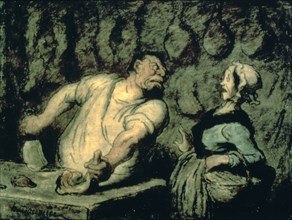 'The Butcher, Montmartre Market', 1857-1858. Artist: Honoré Daumier