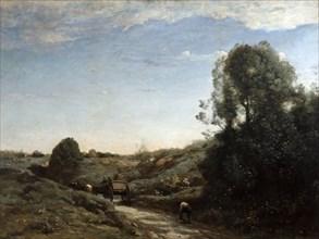 'The Horsecart, Memory of Marcoussis near Montlhery', 1855. Artist: Jean-Baptiste-Camille Corot