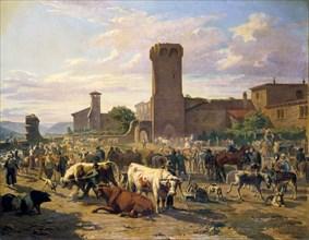 'Livestock Market in L'Arbresle', France, mid-late 19th century. Artist: JB Louis Guy