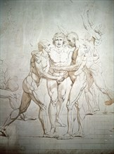 'The Oath of the Tennis Court' (unfinished), detail, 1791-1792. Artist: Jacques-Louis David