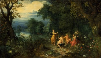 A landscape with wood; Diana offers a hare to a nymph; Silenus and Ceres in foreground, c1614. Artist: Abraham Govaerts