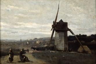 'A Windmill, Etretat', 19th century.  Artist: Jean-Baptiste-Camille Corot