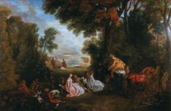 'The Halt During the Chase' ('Rendez-vous de chasse'), 1717-1720.  Artist: Jean-Antoine Watteau