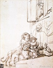 'Woman with a Child Afraid of a Dog', 17th century. Artist: Rembrandt Harmensz van Rijn