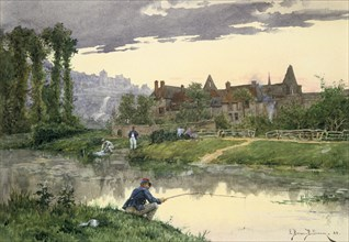 'Soldiers at the Edge of the River', 19th/early 20th century. Artist: Etienne Prosper Berne-Bellecour