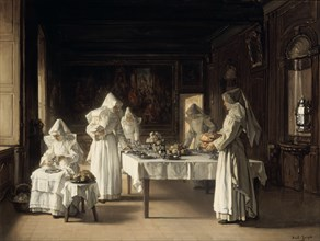 'Dinner at the Hospice of Beaune', France, late 19th/early 20th century. Artist: Claude Joseph Bail