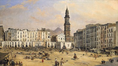 'Piazza, Naples', Italy, mid 19th century. Artist: Jean-Auguste Bard