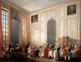 'English Tea Party with the Prince of Conti at the Temple', 1766. Artist: Michel Barthelemy Ollivier