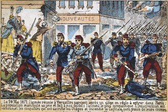 Government soldiers advancing into Paris to suppress the Commune, 24th May 1871. Artist: Anon