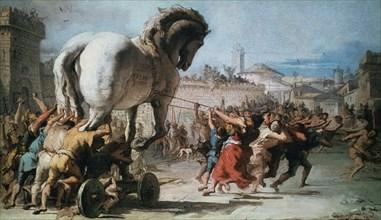 'The Procession of the Trojan Horse into Troy', c1760. Artist: Giovanni Battista Tiepolo