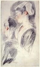 'Two studies of a young woman's head', 1716-18. Artist: Jean-Antoine Watteau