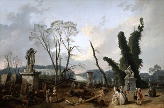 View of the 'Tapis Vert' in Versailles, 19th century. Artist: Fanny Robert