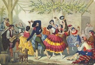 Spanish dancers, mid 19th century. Artist: Anon