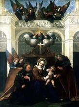 'Holy Family with Saint Nicholas of Tolentino', 1515-1530. Artist: Lodovico Mazzolini