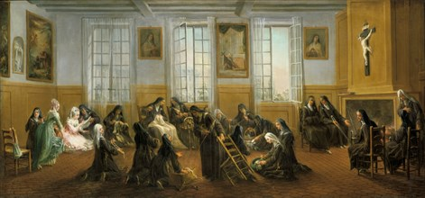 'The Carmelite Nuns in the Warming Hall', mid 18th century. Artist: Charles Guillot