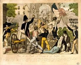 'Prise de la Porte St Denis le 28th Juillet 1830,' Revolution of 1830, Paris. Artist: Unknown