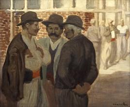 'Ouvriers du Batiment' ('Construction Workers'), c1911. Artist: Theophile Alexandre Steinlen